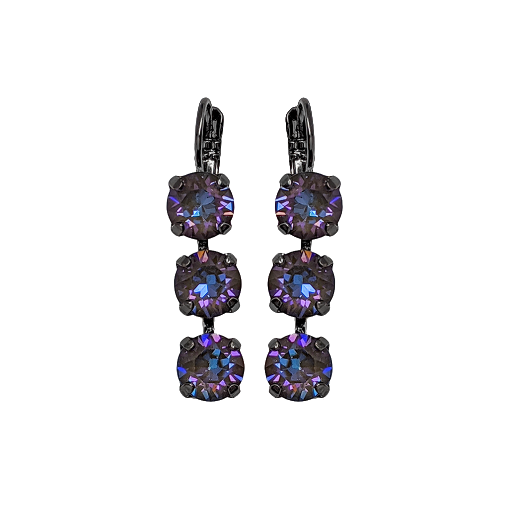 "Must-Have Three Stone Leverback Earrings in Sun-Kissed ""Midnight"" - Gray Plating"