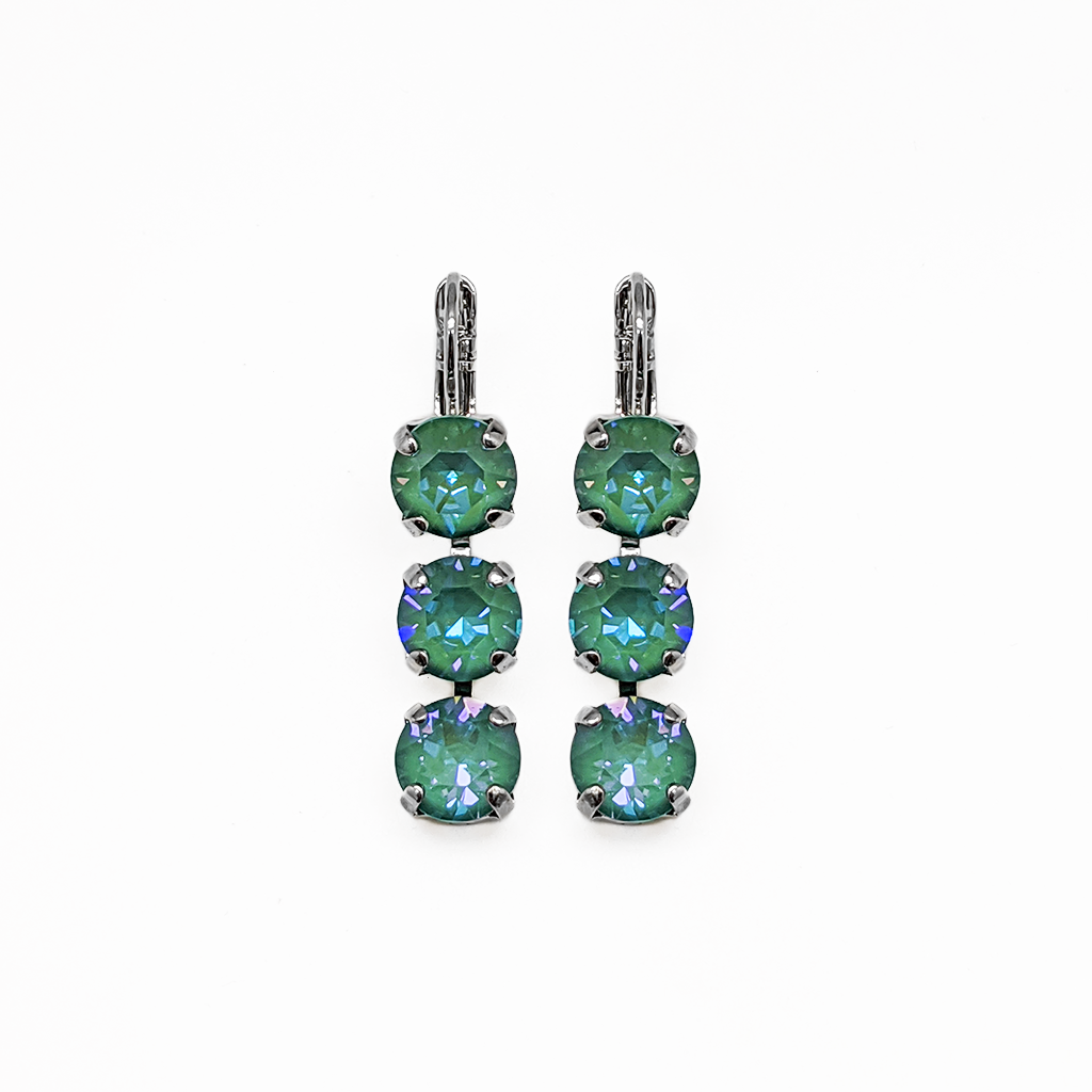 "Must-Have Three Stone Leverback Earrings in Sun-Kissed ""Jade"" *Preorder*"