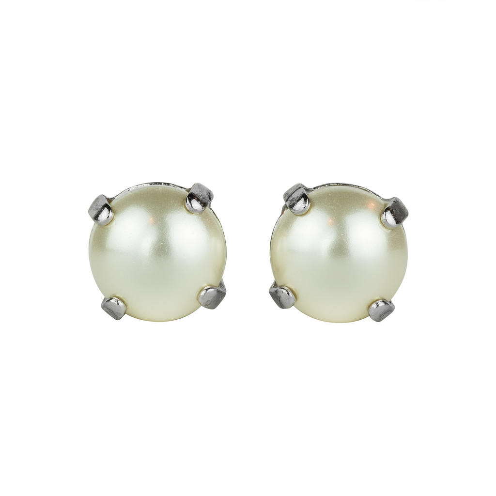Rhodium Studs in Pearl
