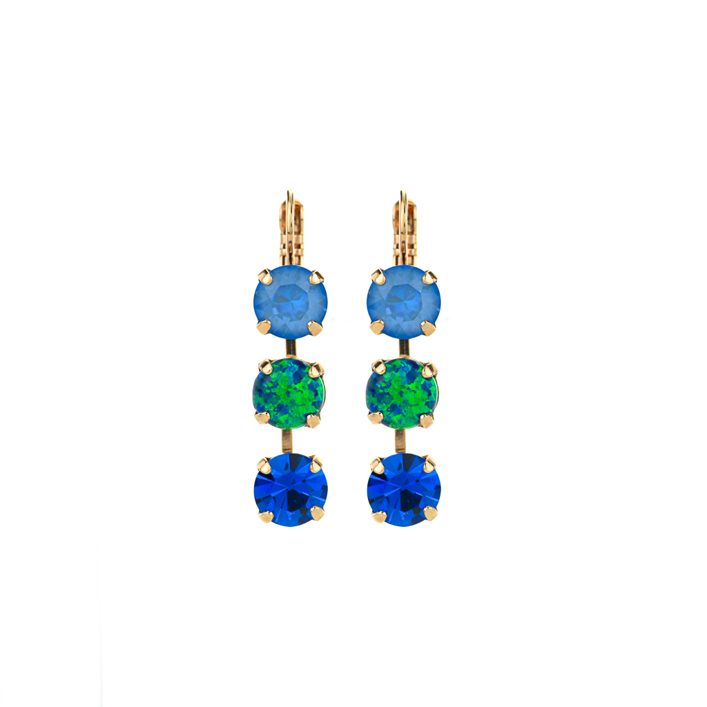 "Must-Have Three Stone Leverback Earrings in ""Serenity"" *Preorder*"