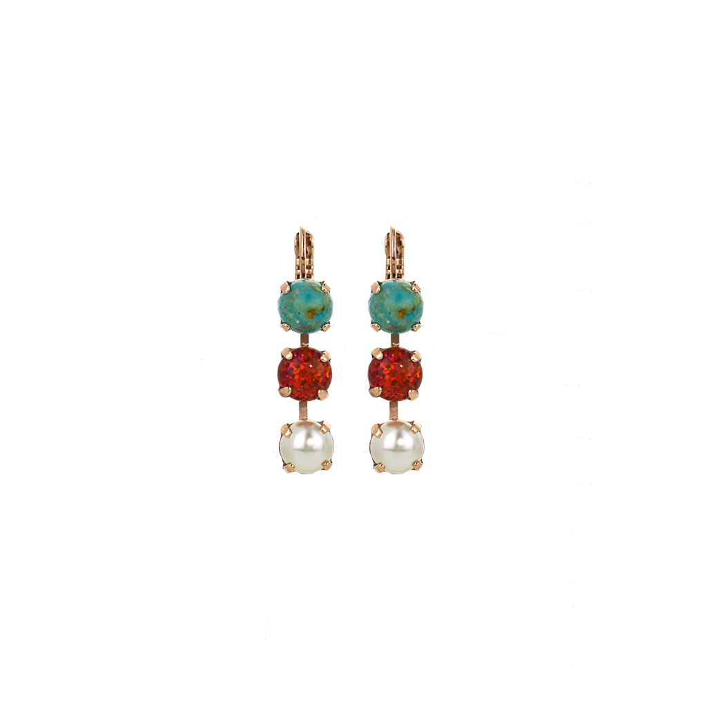 "Must-Have Three Stone Leverback Earrings in ""Happiness-Turquoise"" *Preorder*"