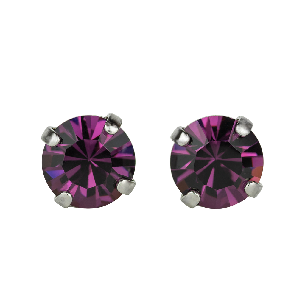 Rhodium Studs in Amethyst