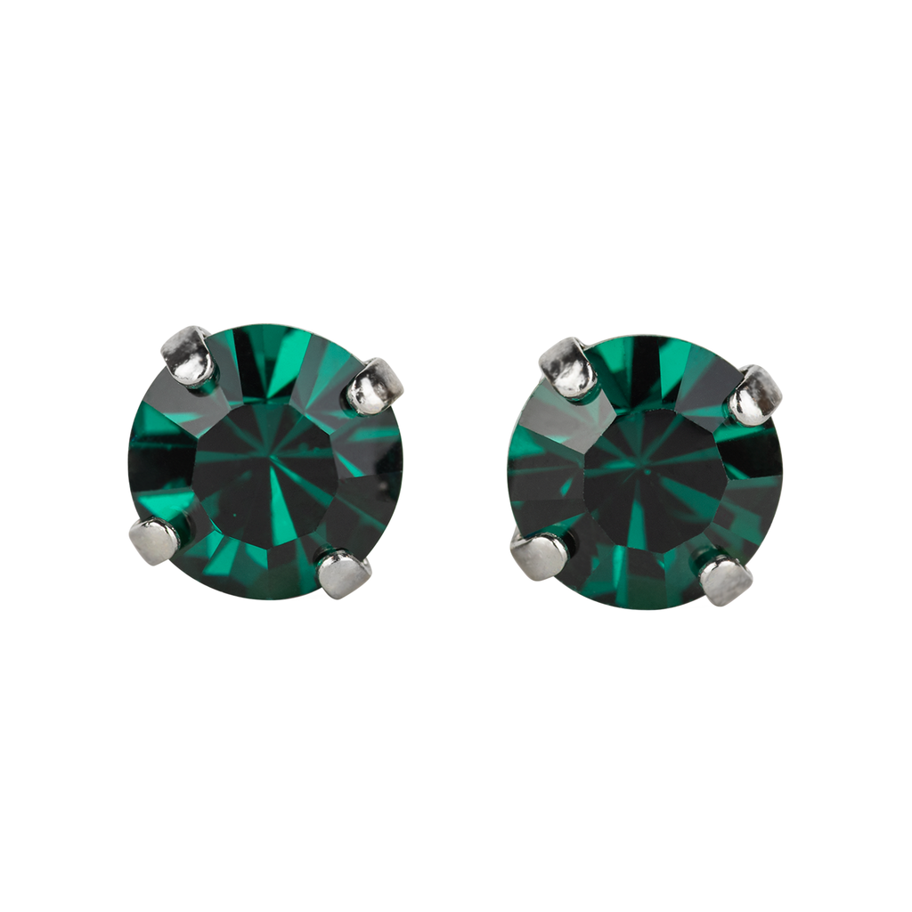 Rhodium Studs in Emerald