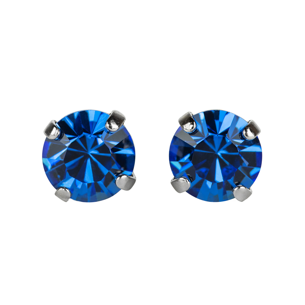 [Rhodium] Must Have Everyday Post Earrings in Sapphire