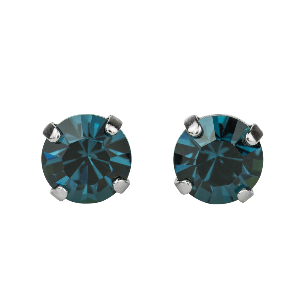 Rhodium Studs in Montana Blue