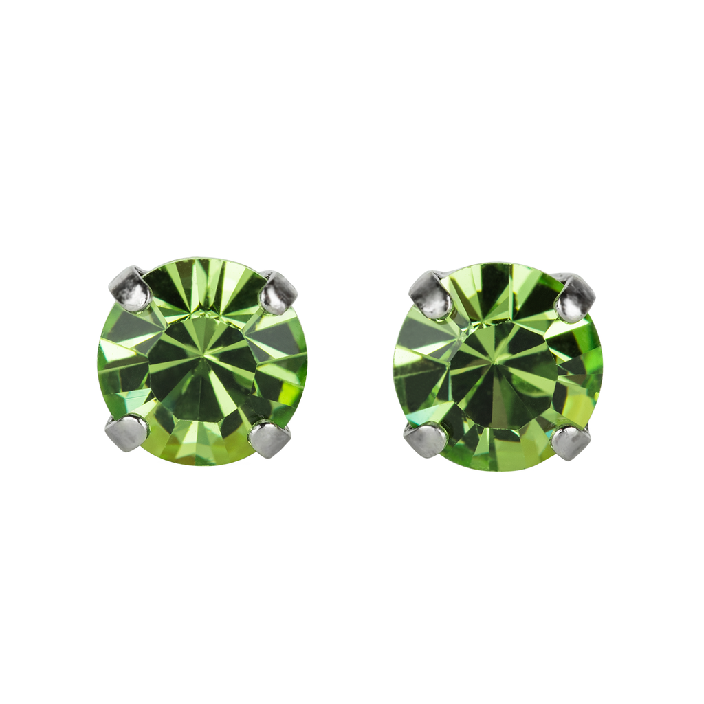 Rhodium Studs in Peridot