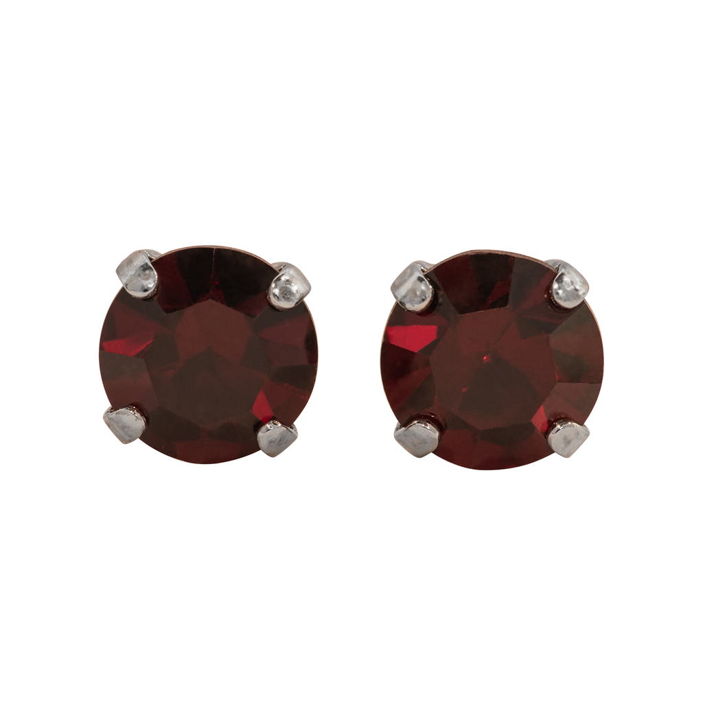Rhodium Studs in Garnet