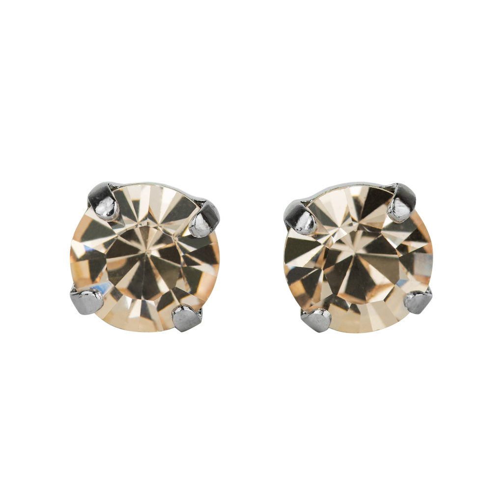 Rhodium Studs in Silk