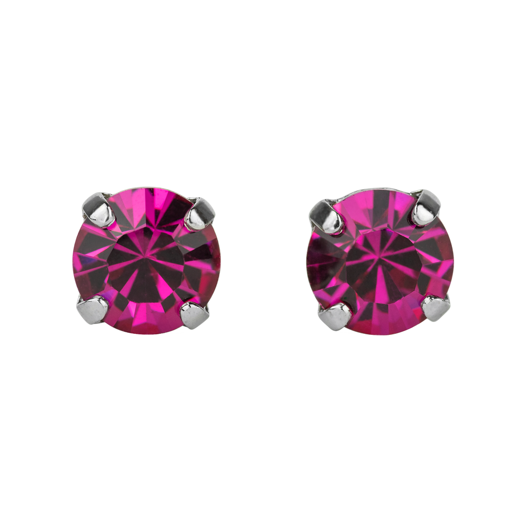 Rhodium Studs in Fuchsia