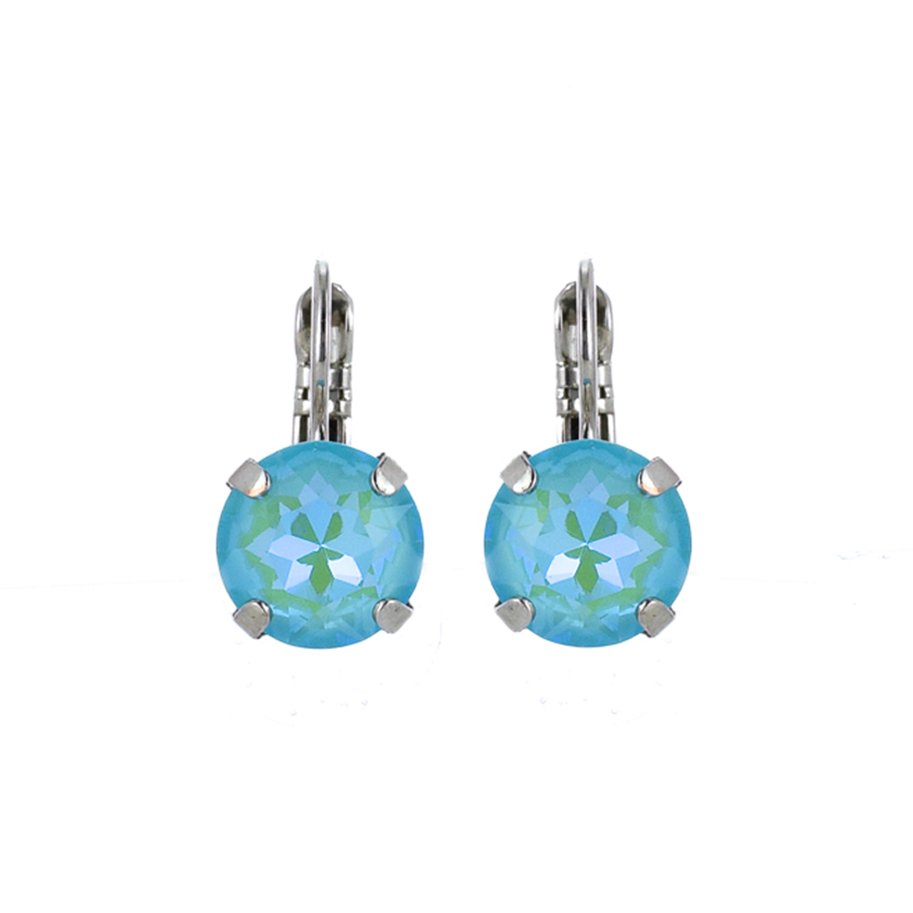 "Lovable Single Stone Leverback Earrings in Sun-Kissed ""Aqua"" - Rhodium"
