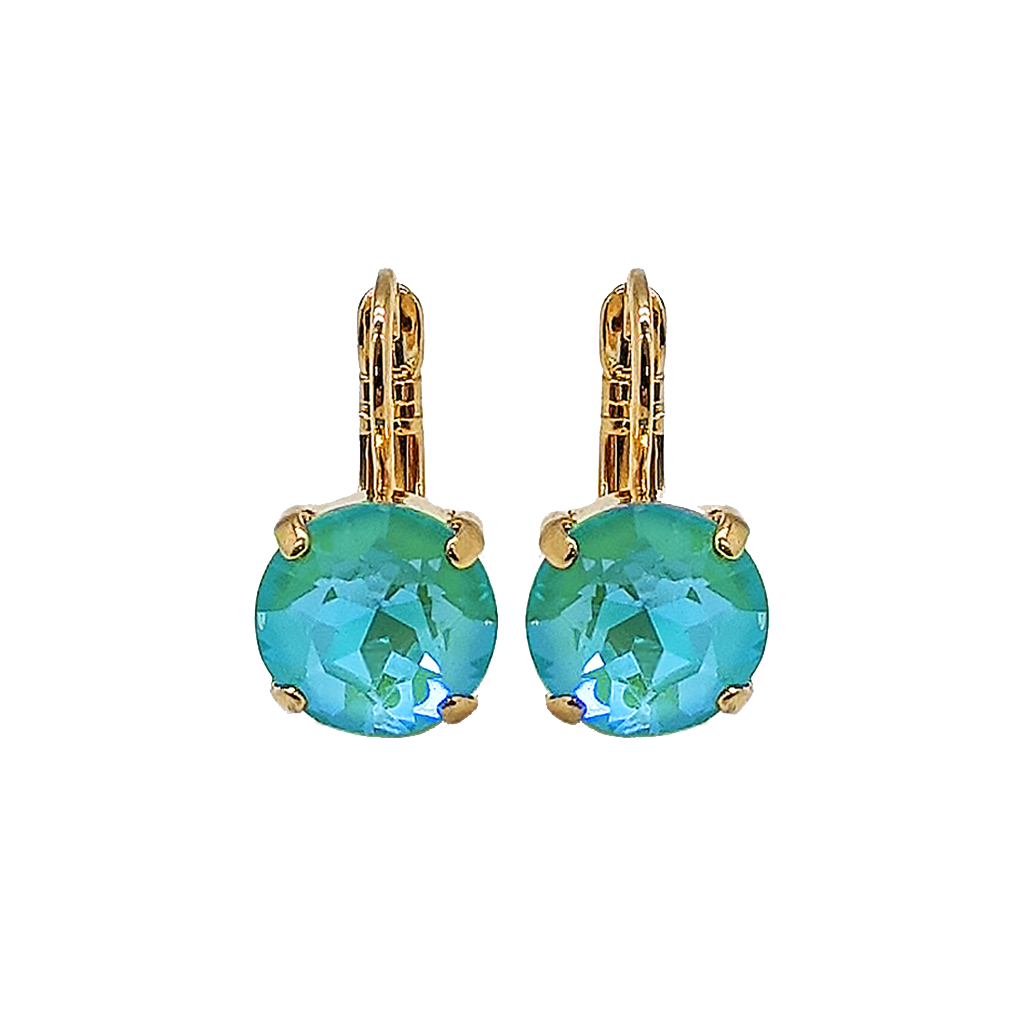 "*Preorder* Lovable Single Stone Leverback Earrings in Sun-Kissed ""Aqua"""