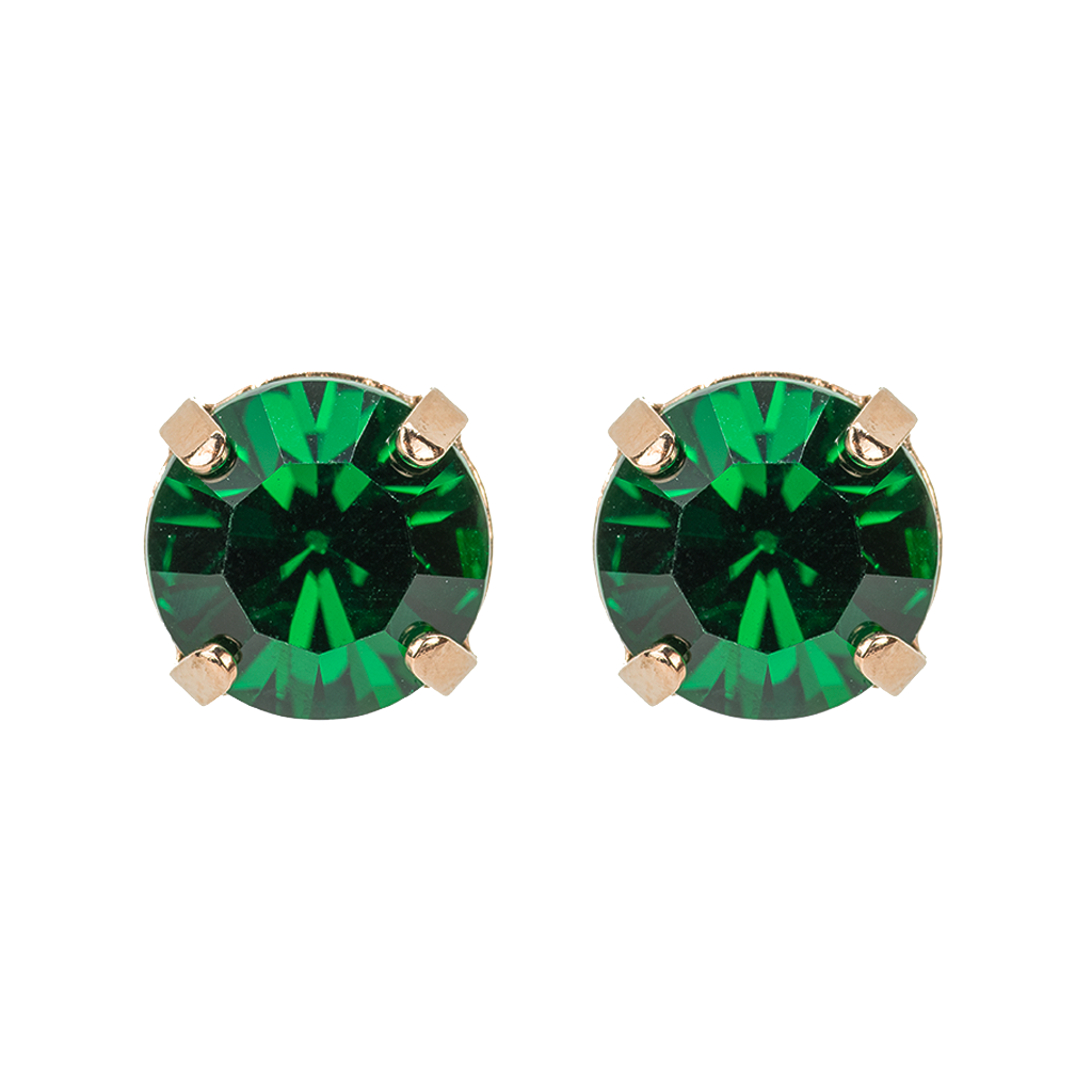 Lovable Emerald Round Post Earrings *Preorder*