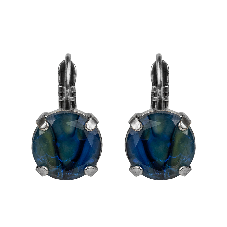 "[Antiqued Silver] Lovable Leverback Earrings ""Lagoon Breeze"""