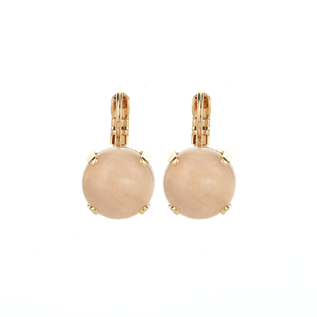 Lovable Single Stone Leverback Earrings in Rose Quartz *Preorder*