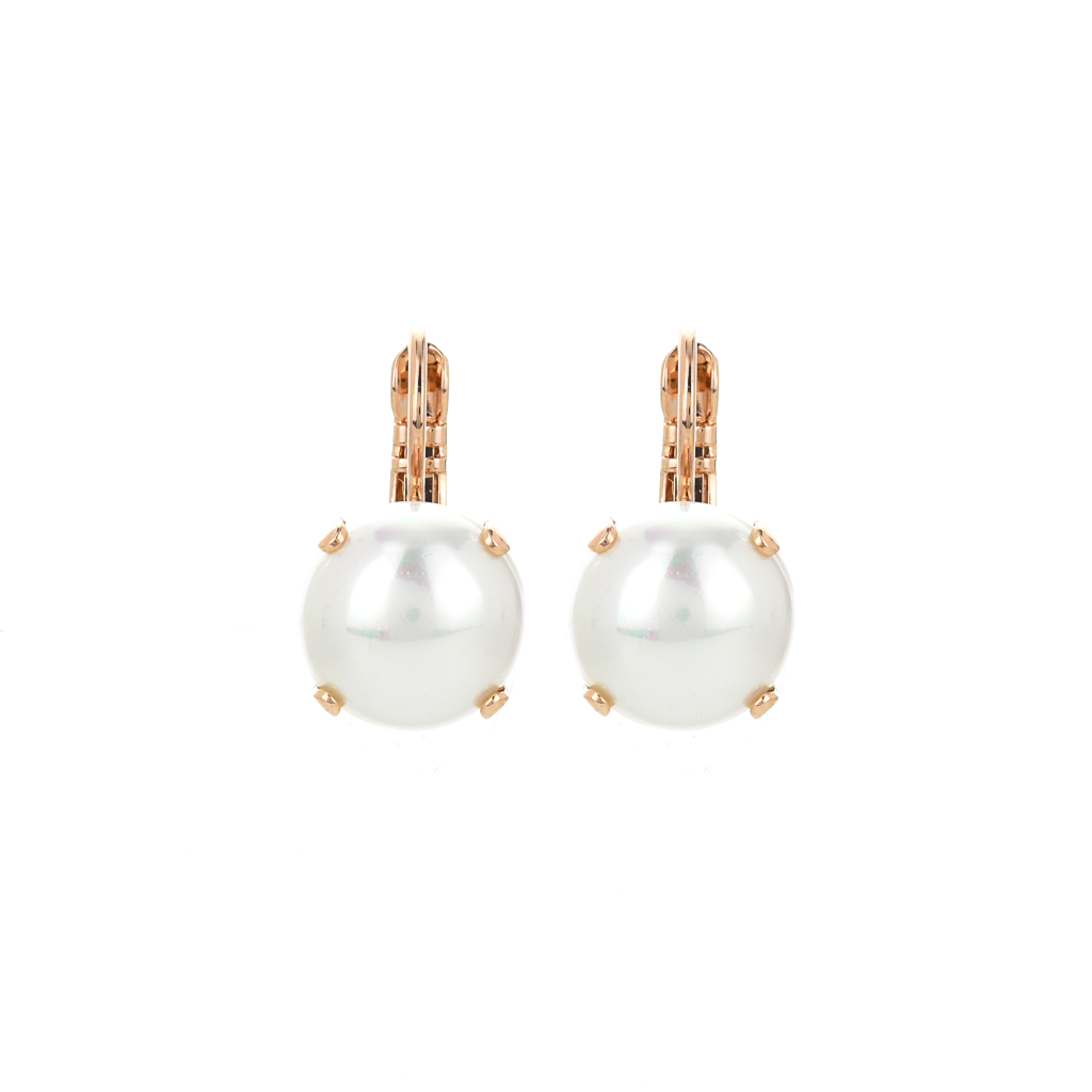 Lovable Single Stone Leverback Earrings in Pearl *Preorder*