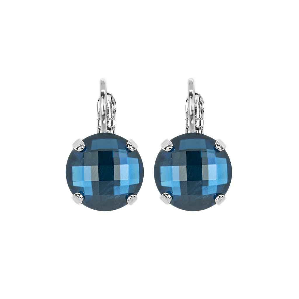 "Lovable Faceted Leverback Earrings in ""Cobalt Blue"" *Preorder*"