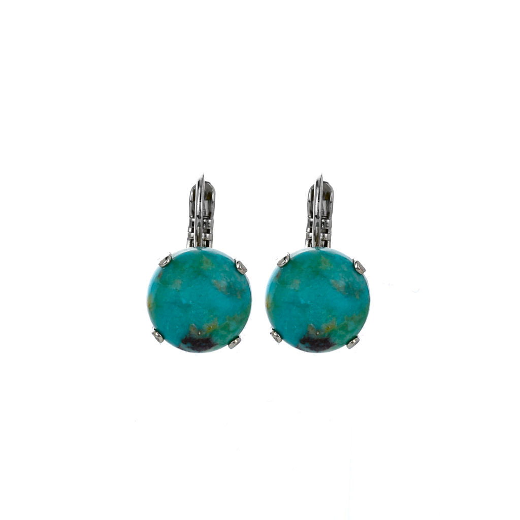 Lovable Single Stone Leverback Earrings in Natural Turquoise *Preorder*