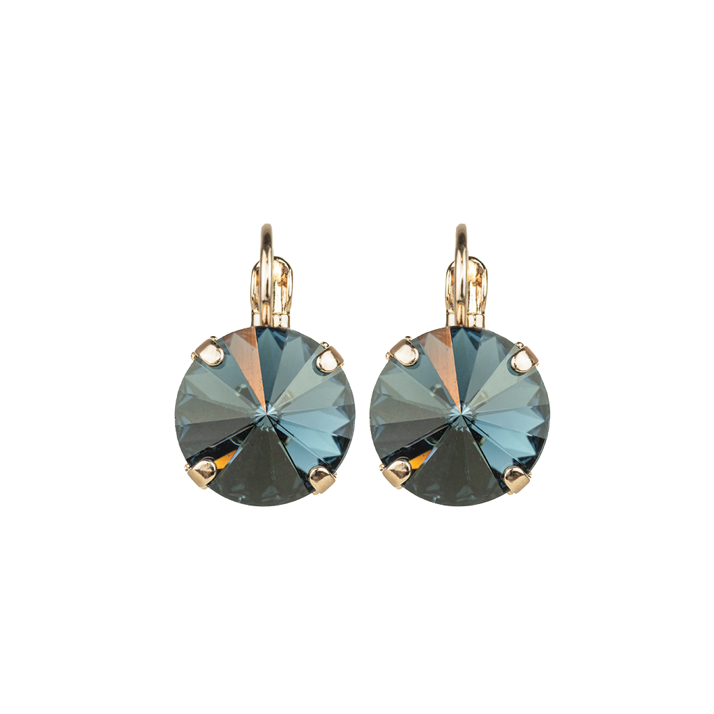 "Lovable Single Stone Rivoli Leverback Earrings in ""Montana Blue"" *Preorder*"