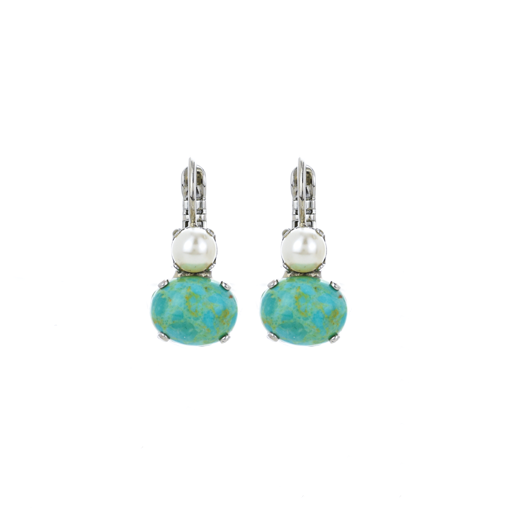 "Two Stone Round and Oval Leverback Earrings in ""Happiness-Turquoise"" *Preorder*"