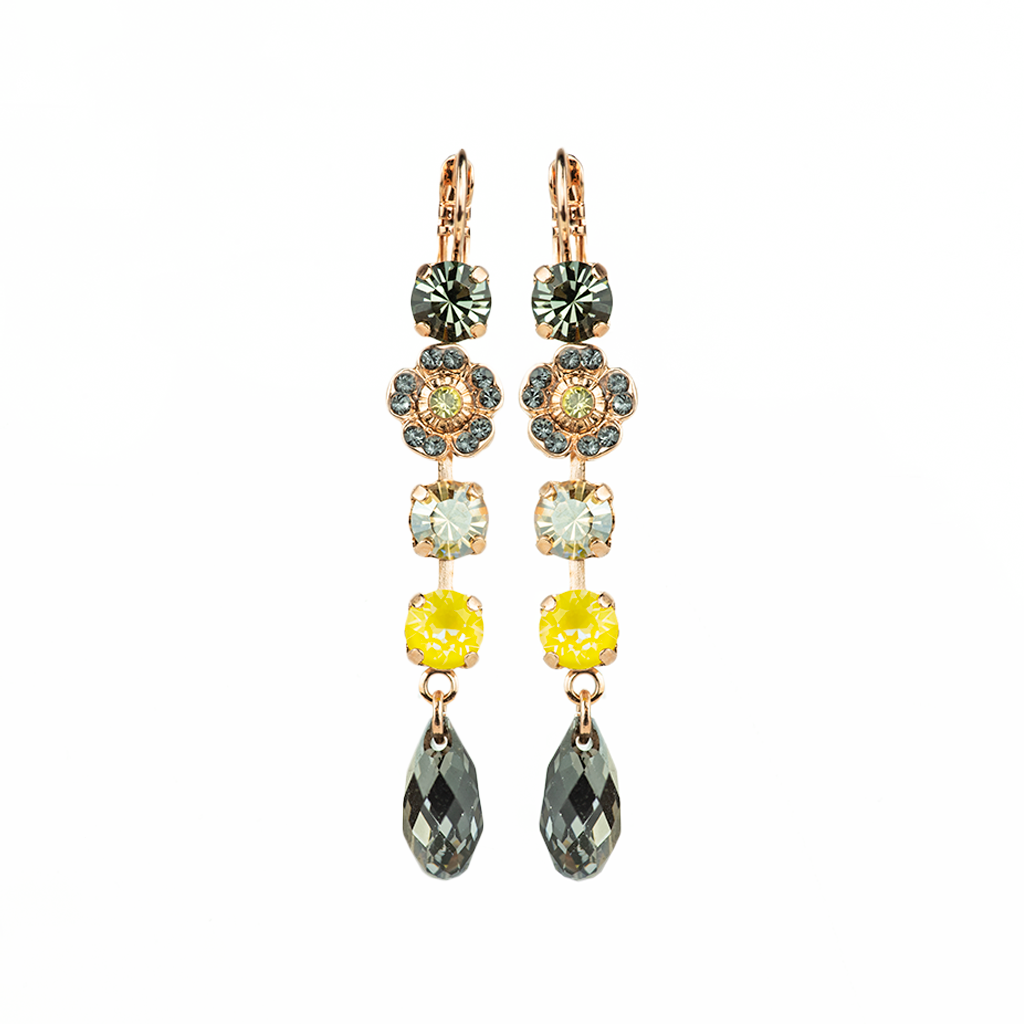 "*Preorder* Petite Four Stone Leverback Earrings with Flower Cluster in ""Painted Lady"""