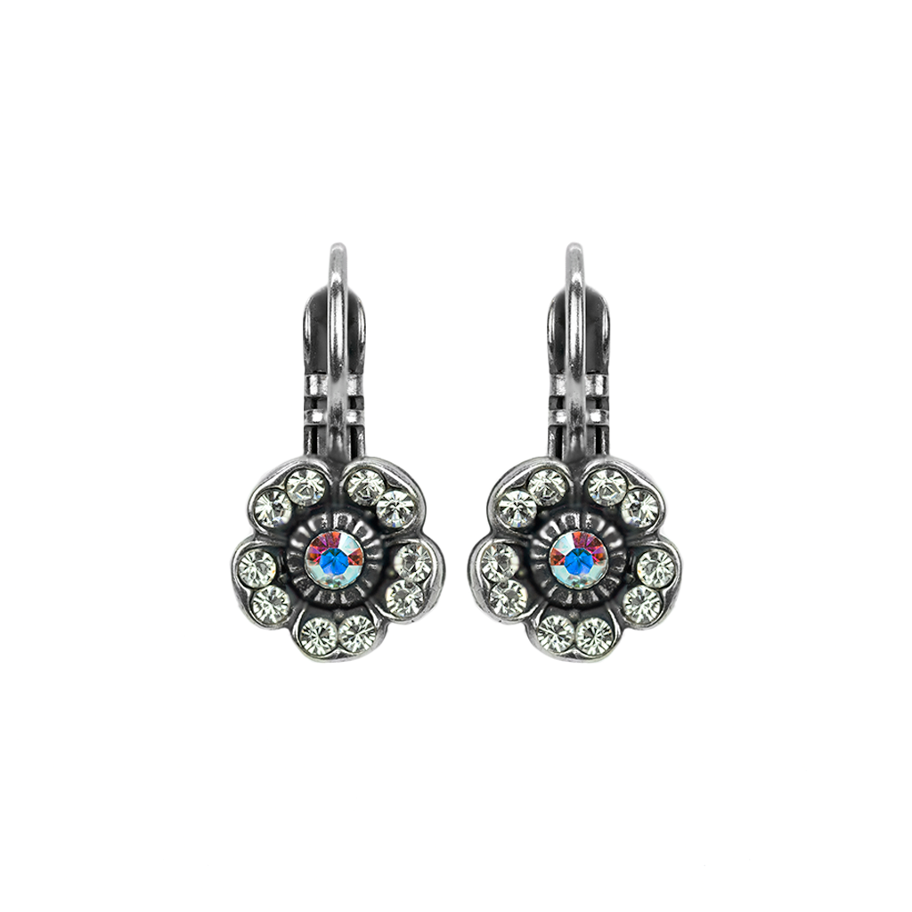 Flower Bridal Leverback Earrings in On A Clear Day