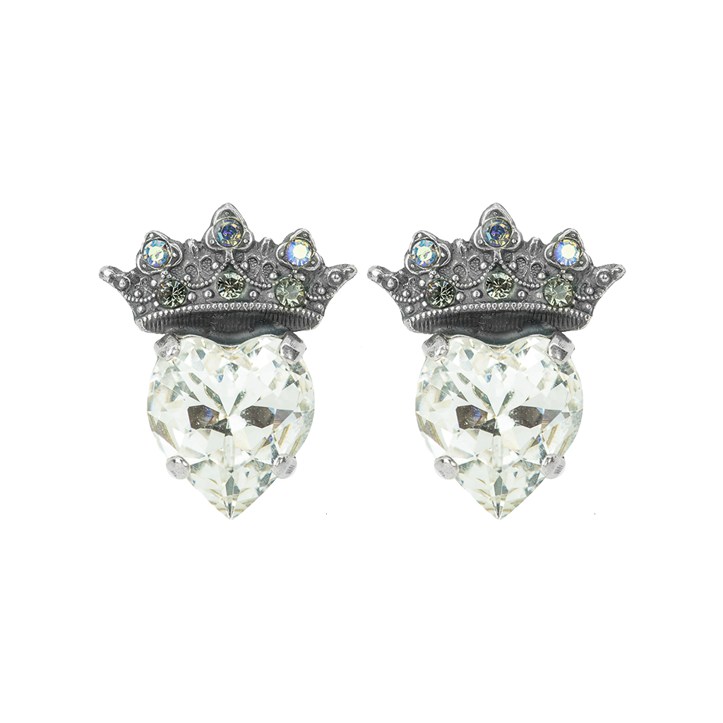 Princess Heart Post Earrings - Antiqued Silver