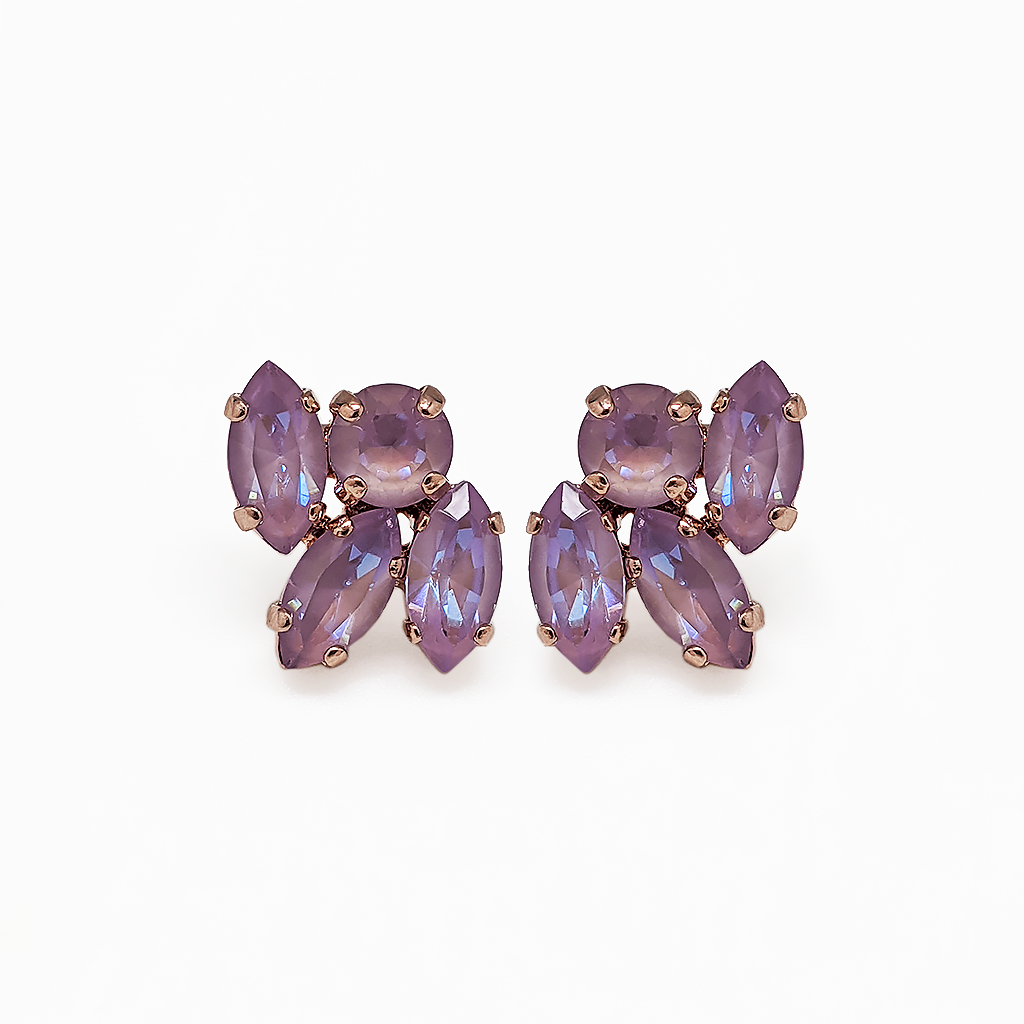 "Marquise and Round Post Earrings in Sun-Kissed ""Lavender"" - Rose Gold"
