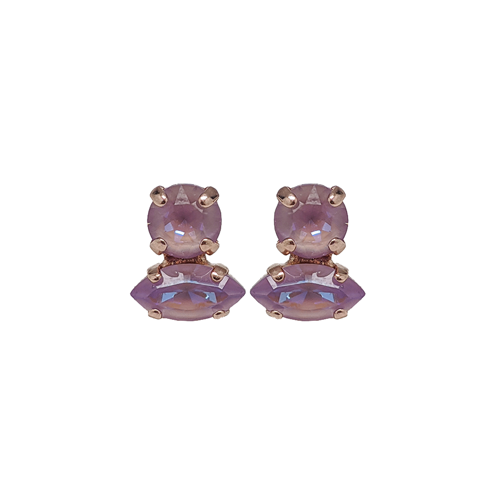 "Double Stone Marquise and Round Post Earrings in Sun-Kissed ""Lavender"" *Preorder*"
