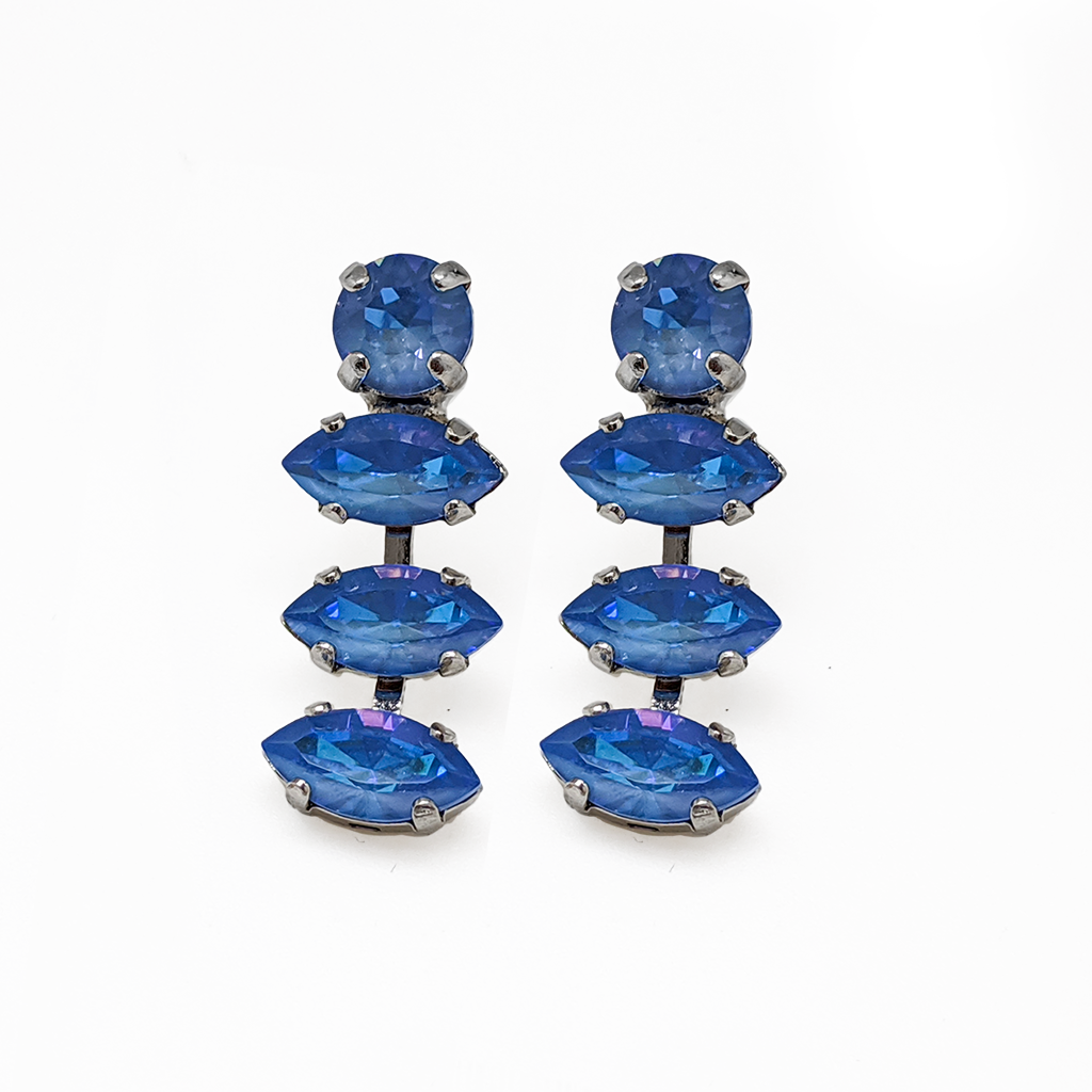 "*Preorder* Round and Marquise Post Earrings in Sun-Kissed ""Ocean"""
