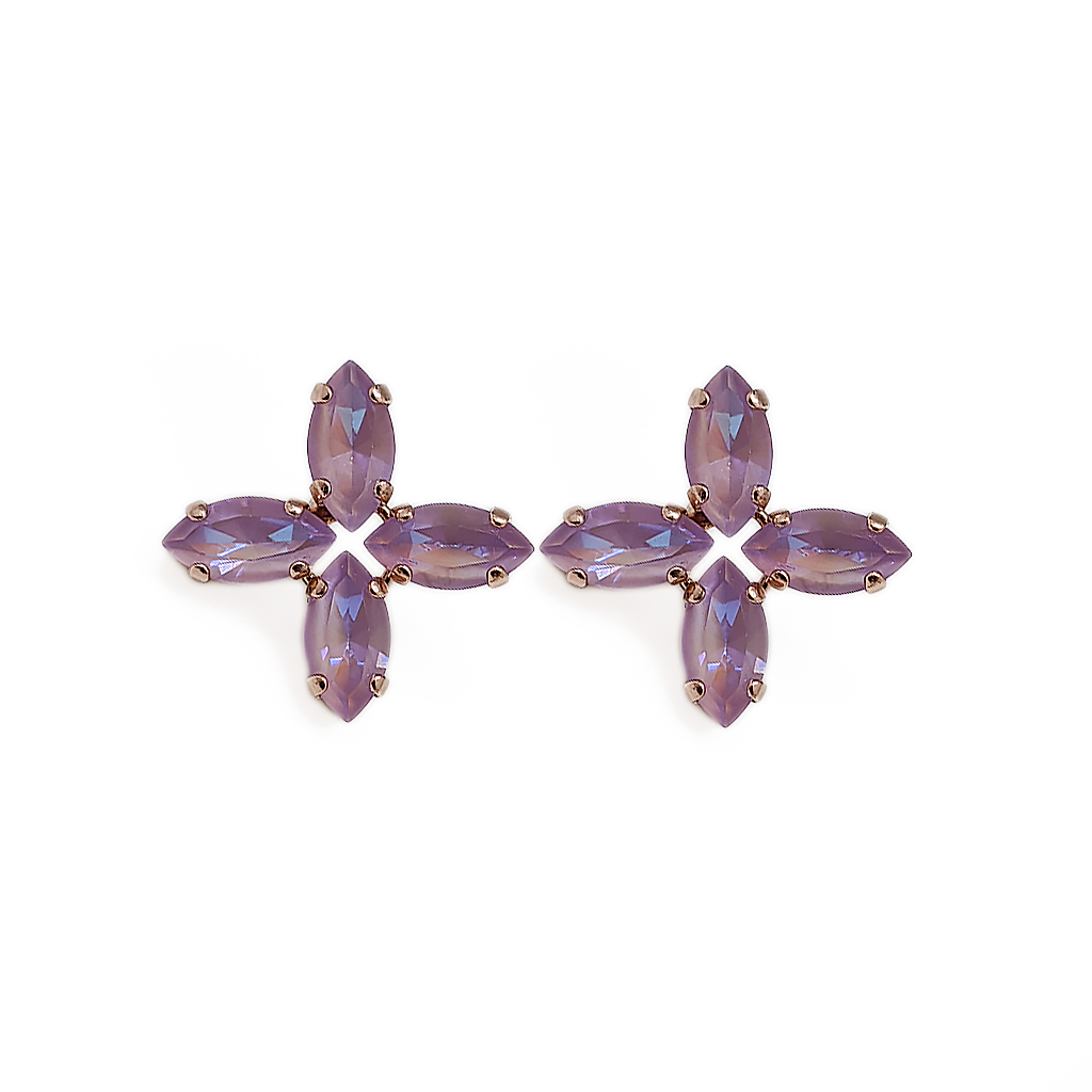 "Marquise Cross Post Earrings in Sun-Kissed ""Lavender"" *Preorder*"