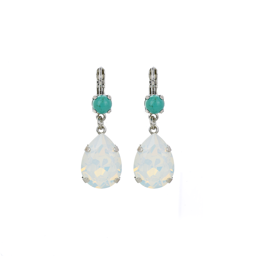 "Double Stone Pear Dangle Leverback Earrings in ""Happiness"" *Preorder*"