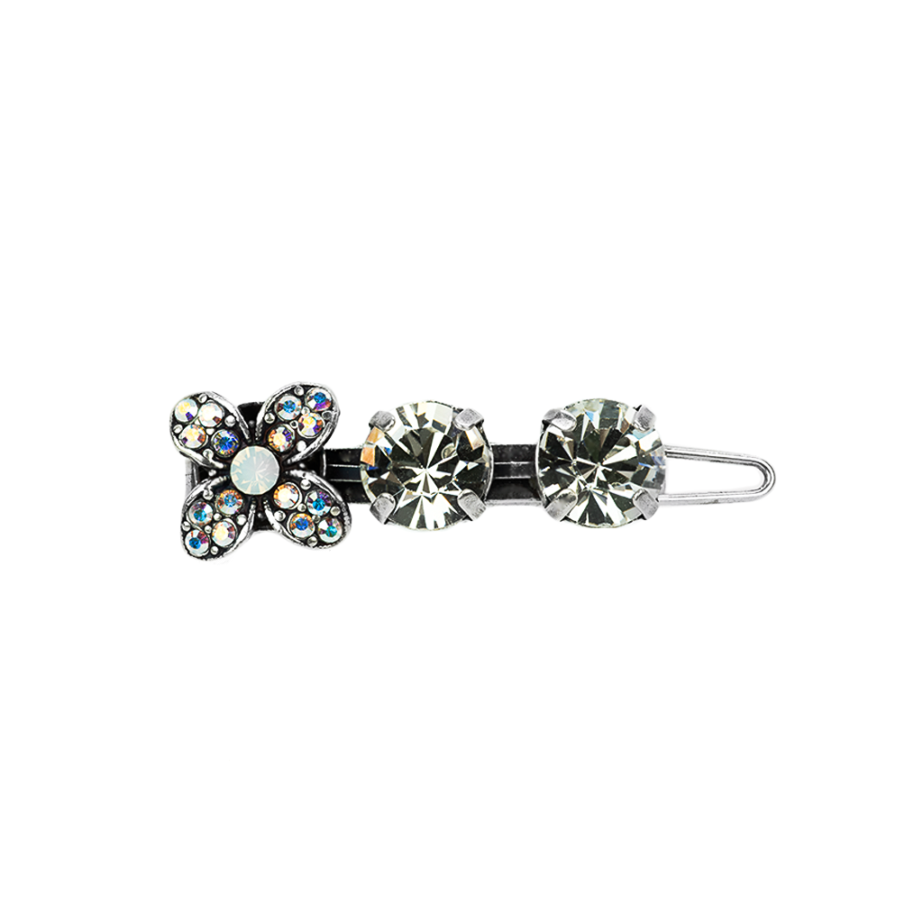 Flower and Round Stone Bridal Hairpin - Antiqued Silver