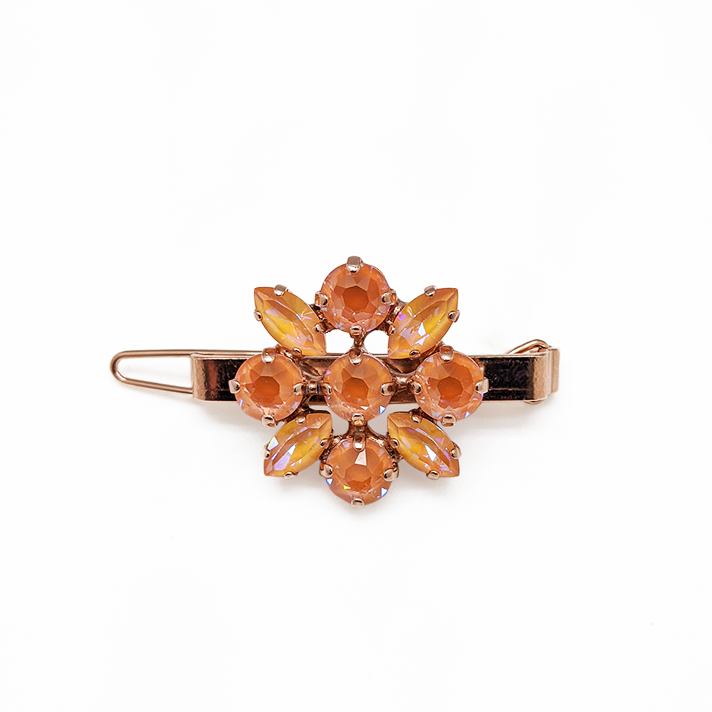 "Marquise and Round Hairpin in Sun-Kissed ""Peach"" - Rose Gold"