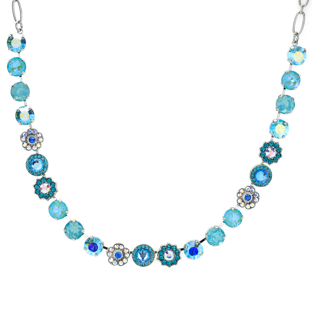 "Lovable Mixed Element Necklace in ""Tranquil"" - Rhodium"