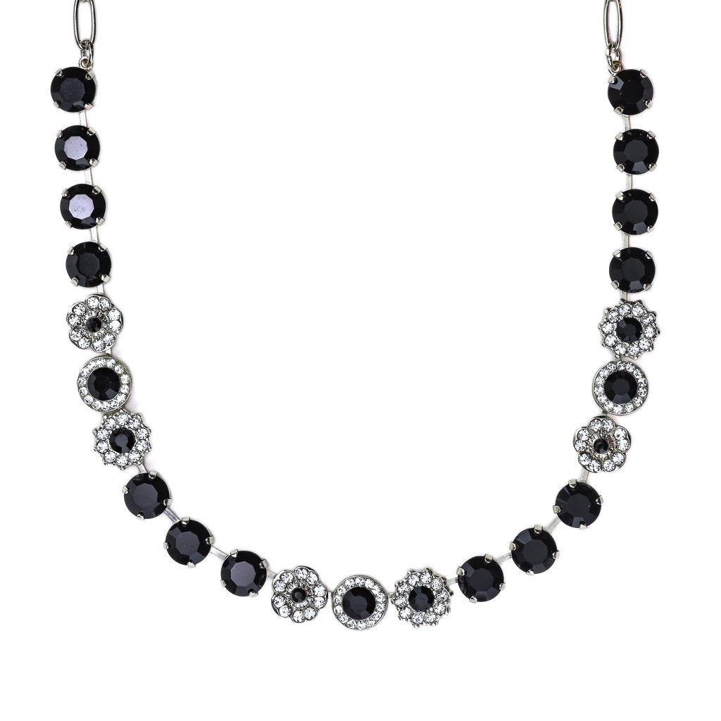 "Lovable Mixed Element Necklace in ""Checkmate"" - Rhodium"