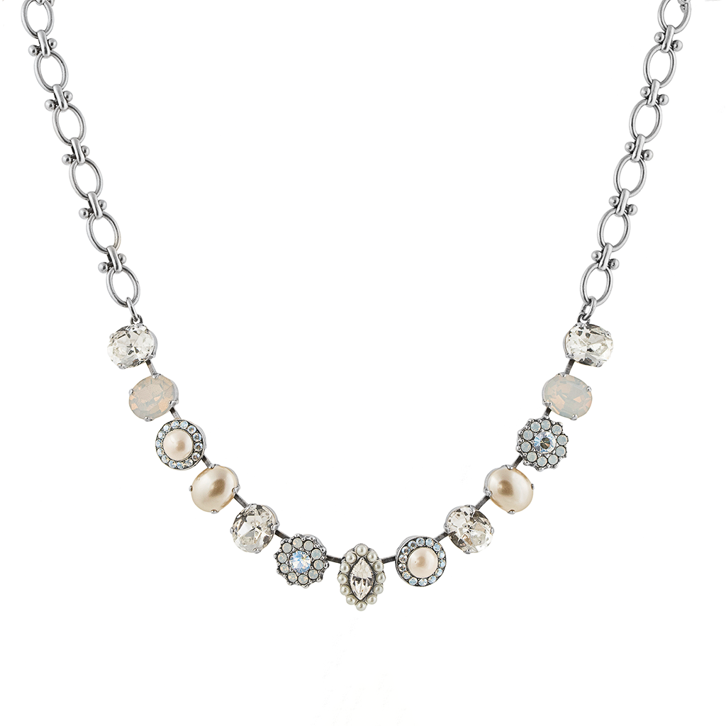 "Oval and Cluster Bridal Necklace in ""Ivory"" - Antiqued Silver"