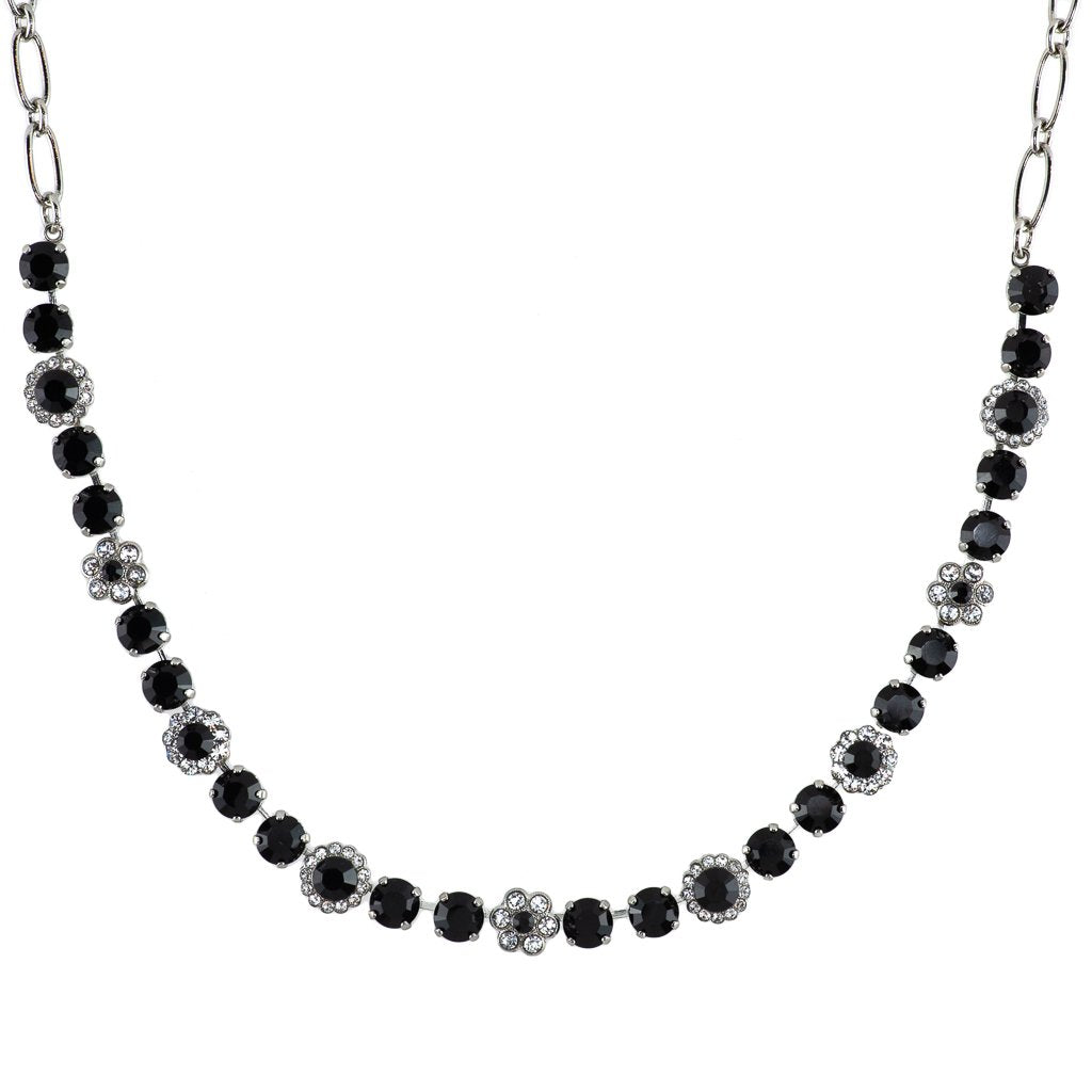 "Must-Have Flower Necklace in ""Checkmate"" - Rhodium"