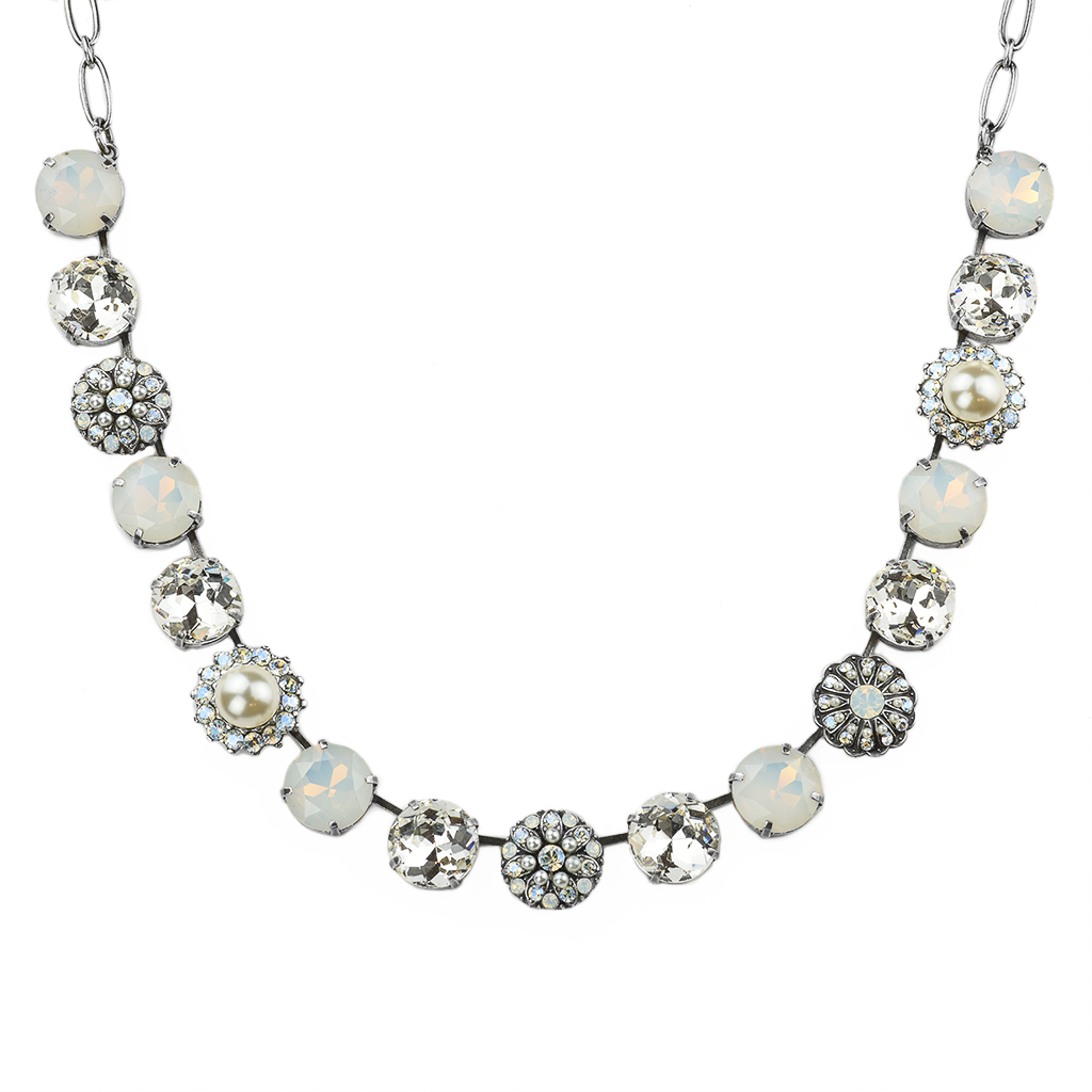 Extra Luxurious Bridal Cluster Necklace in Ivory - Antiqued Silver