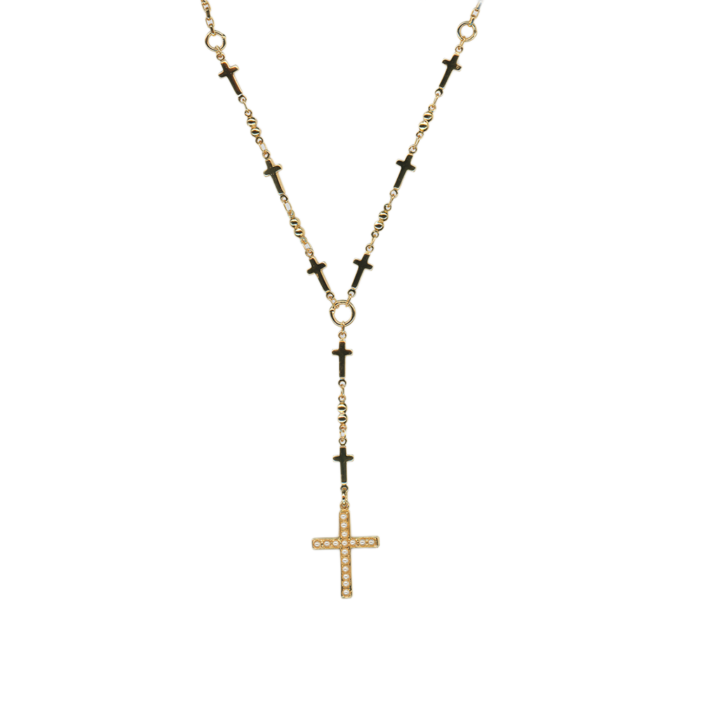 "Cross Necklace in ""Cream Pearl"" - Yellow Gold"