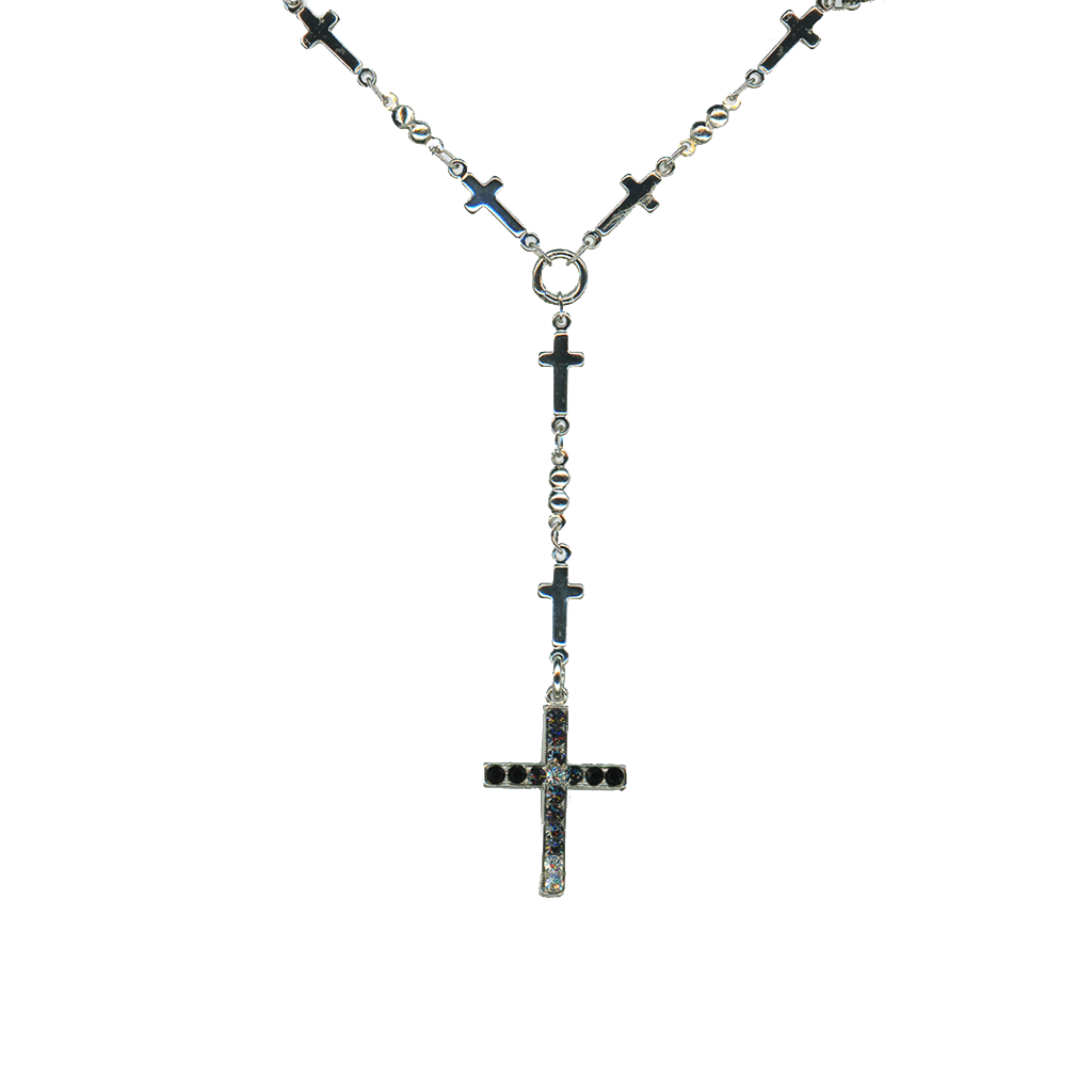 "Cross Necklace in ""Black Orchid"" - Antiqued Silver"