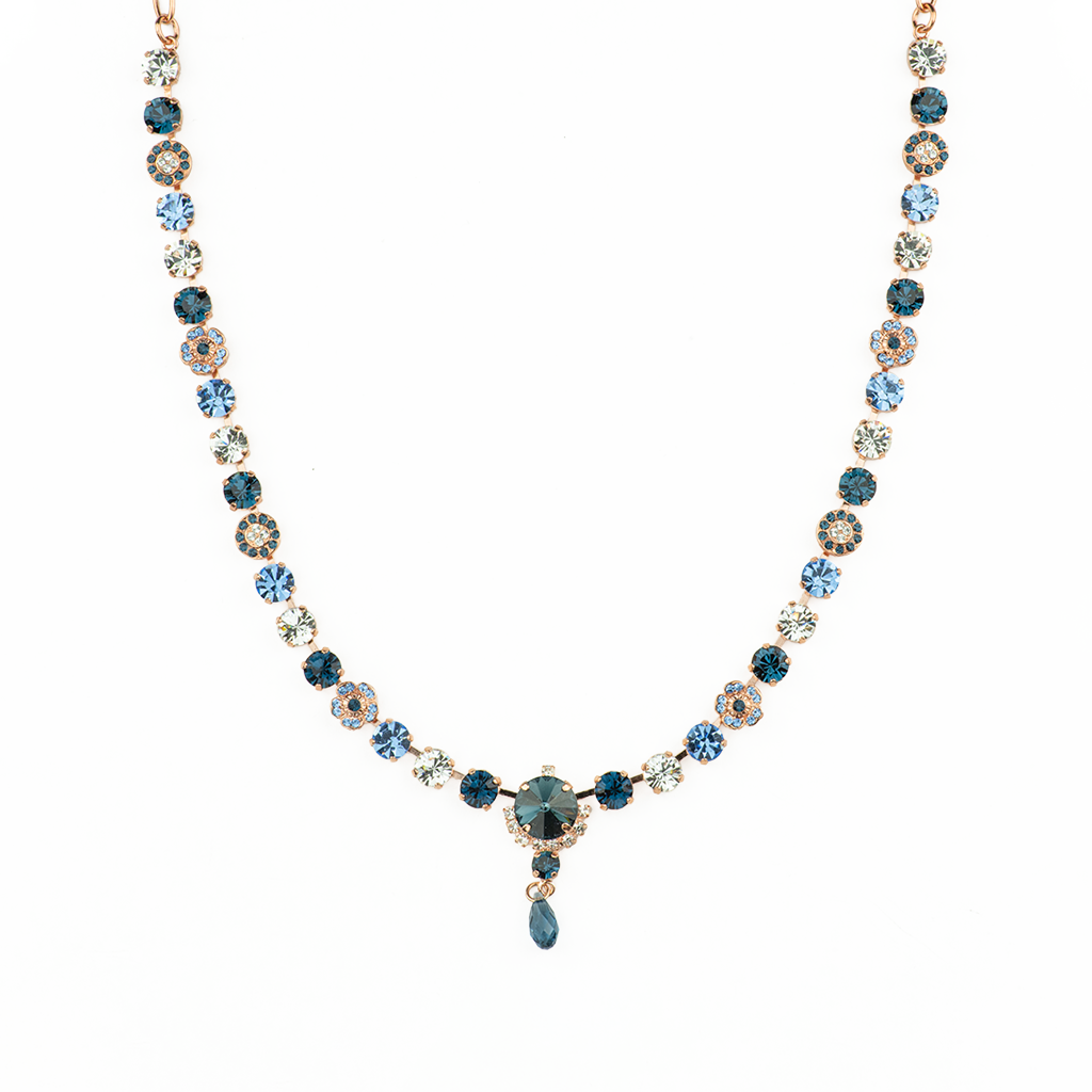"Petite Necklace with Rivoli Center Cluster ""Night Sky"" *Preorder*"