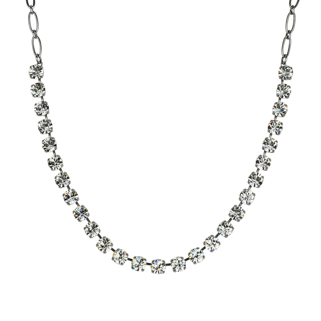 Antiqued Silver Necklace N-3252 Clear