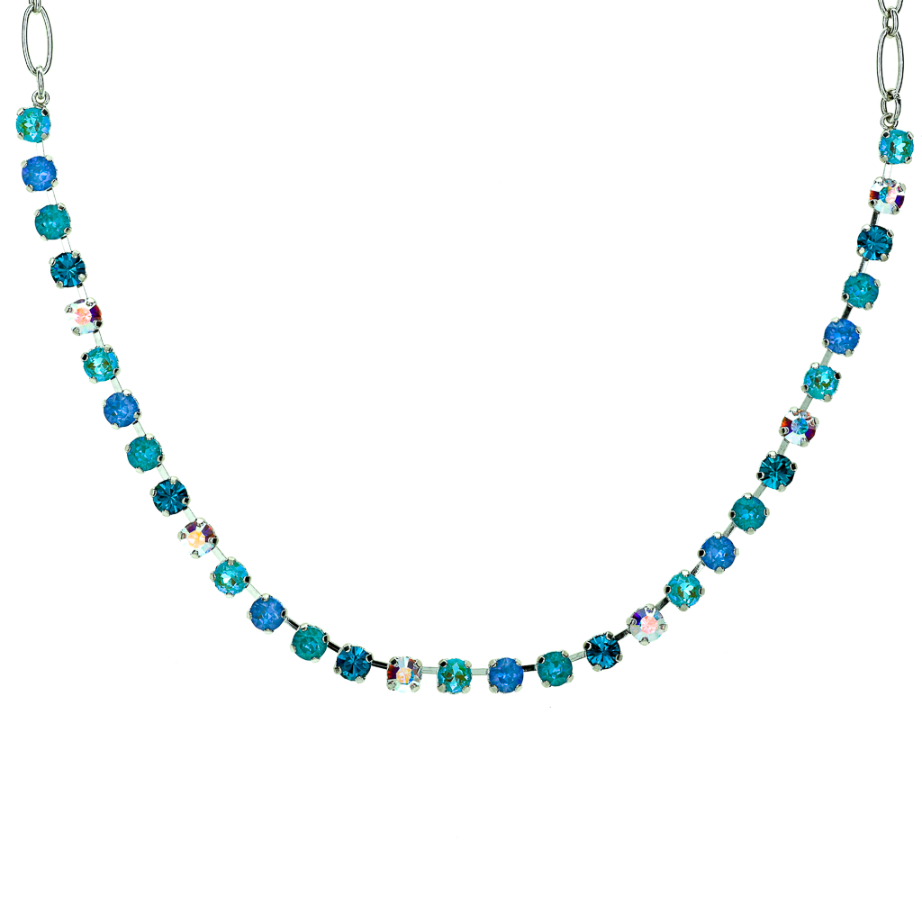 "Petite Everyday Necklace in Sun-Kissed ""Tranquil"" - Rhodium"