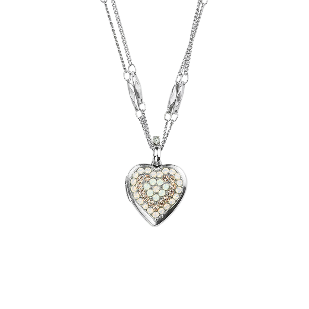 "Heart Locket Pendant in ""Afternoon Delight"" - Rhodium"