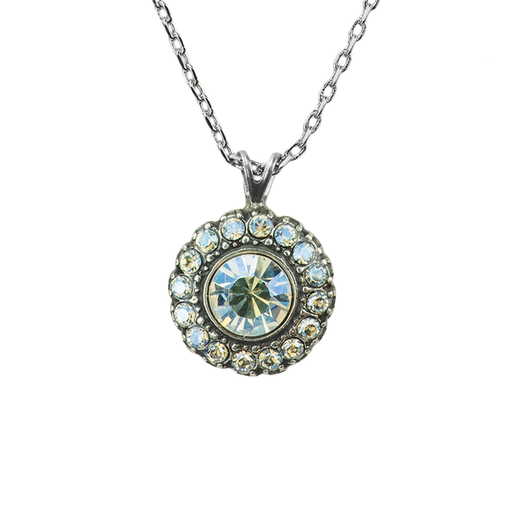 Fun Finds Rosette Pendant in Crystal Moonlight - Antiqued Silver