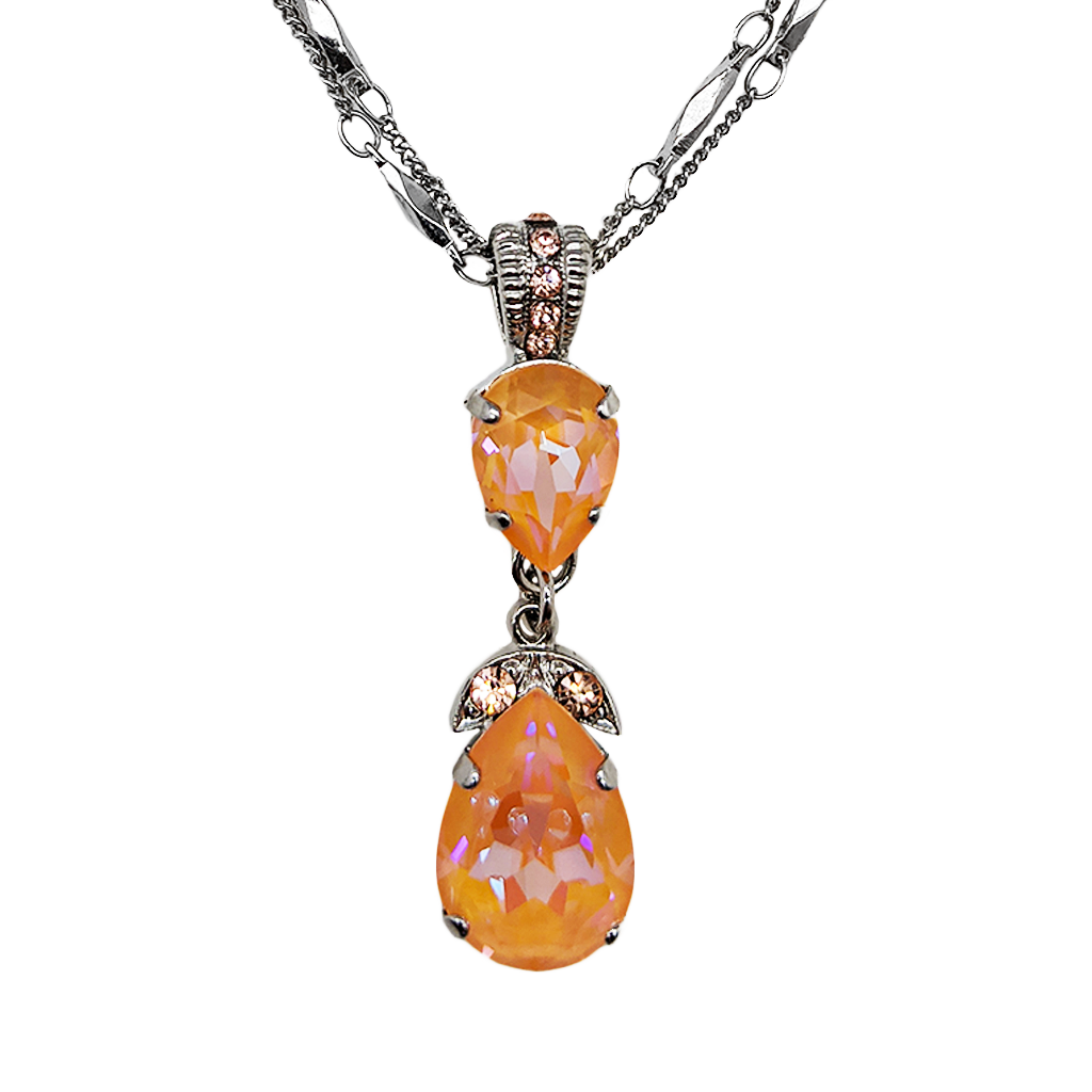 "Double Stone Pear Pendant in Sun-Kissed ""Peach"" *Preorder*"