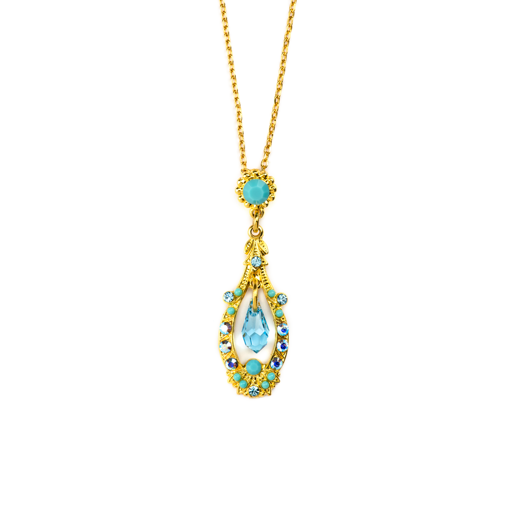 "Open Oval Pendant with Dangle Briolette in ""Bliss"" - Yellow Gold"