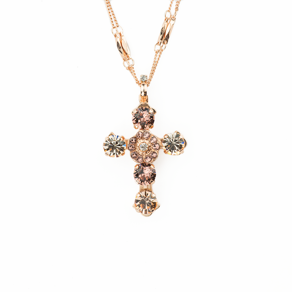 "*Preorder* Must-Have Cross Pendant with Center Flower in ""Meadow Brown"""