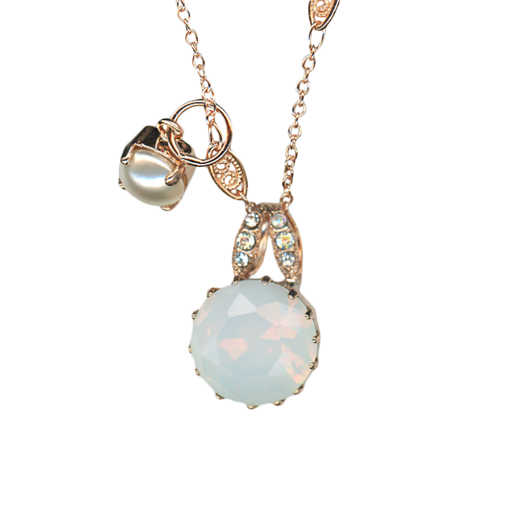 "Double Stone Lovable Pendant in ""Bermuda"" - Rose Gold"