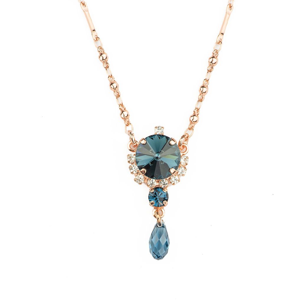 "*Preorder* Rivoli Cluster Pendant with Briolette Dangle in ""Night Sky"""
